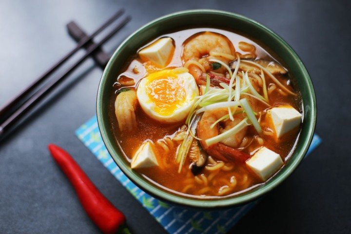 Spicy Tofu and Prawn Ramen Wide