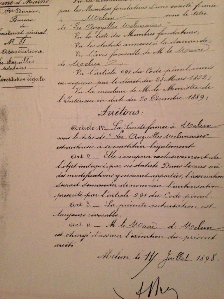 Création de l'association le : 11/07/1898