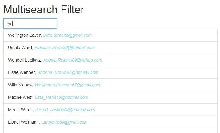 AngularJS Multiseach Live List Filter