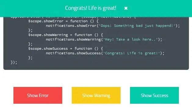 ng-notifications-bar Success Bar