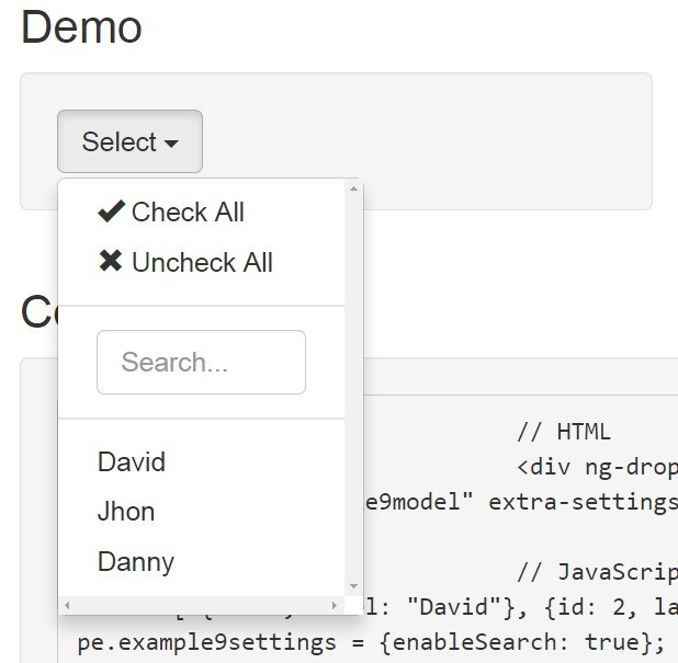 AngularJS Dropdown Multiselect Searchable