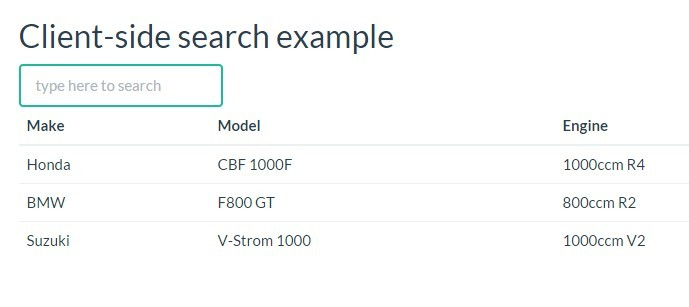 Light Grid Client-side search