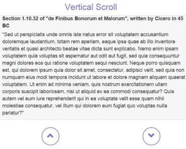 wsContentScroller Vertical Scroll