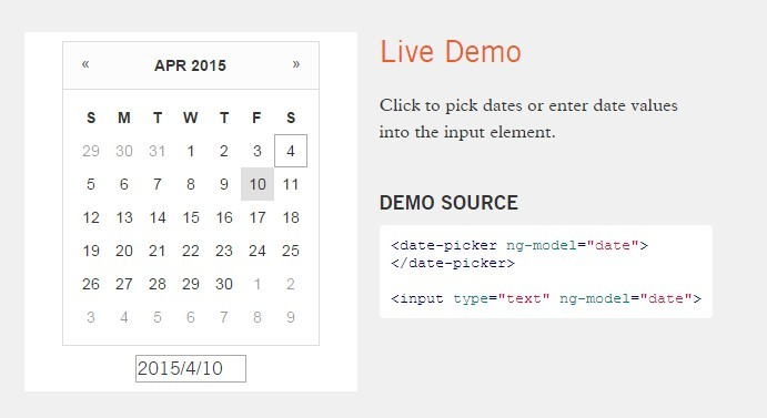 Lightweight Calendar Date Picker For Angular | Angular Script
