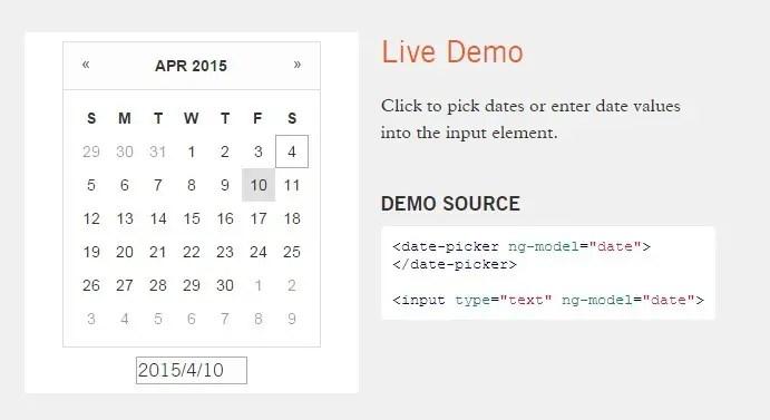 Lightweight Calendar Date Picker For Angular