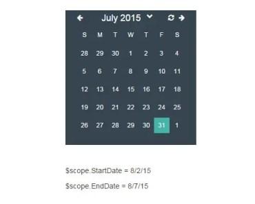 Simple Date-Range Calendar For Angular