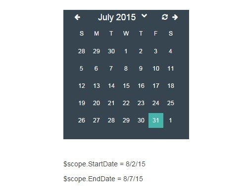 Simple Date-Range Calendar For Angular