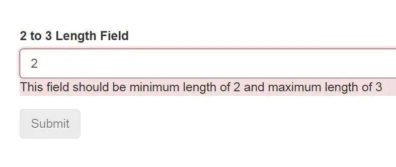 Angular Fom Validator Validate string length