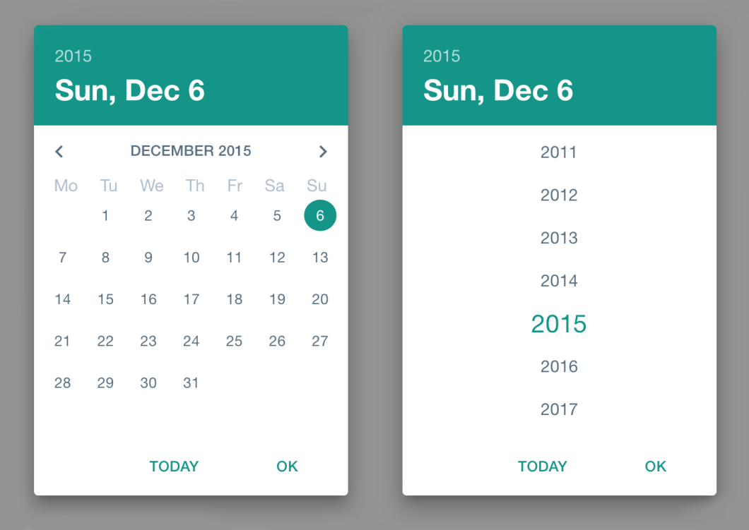 Material Design Date Picker with Angular Material