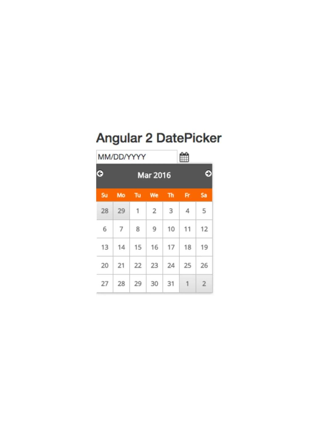 Simple Angular 2 Date Picker