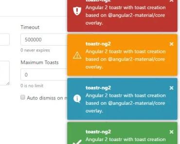 Angular 2 Toastr Component