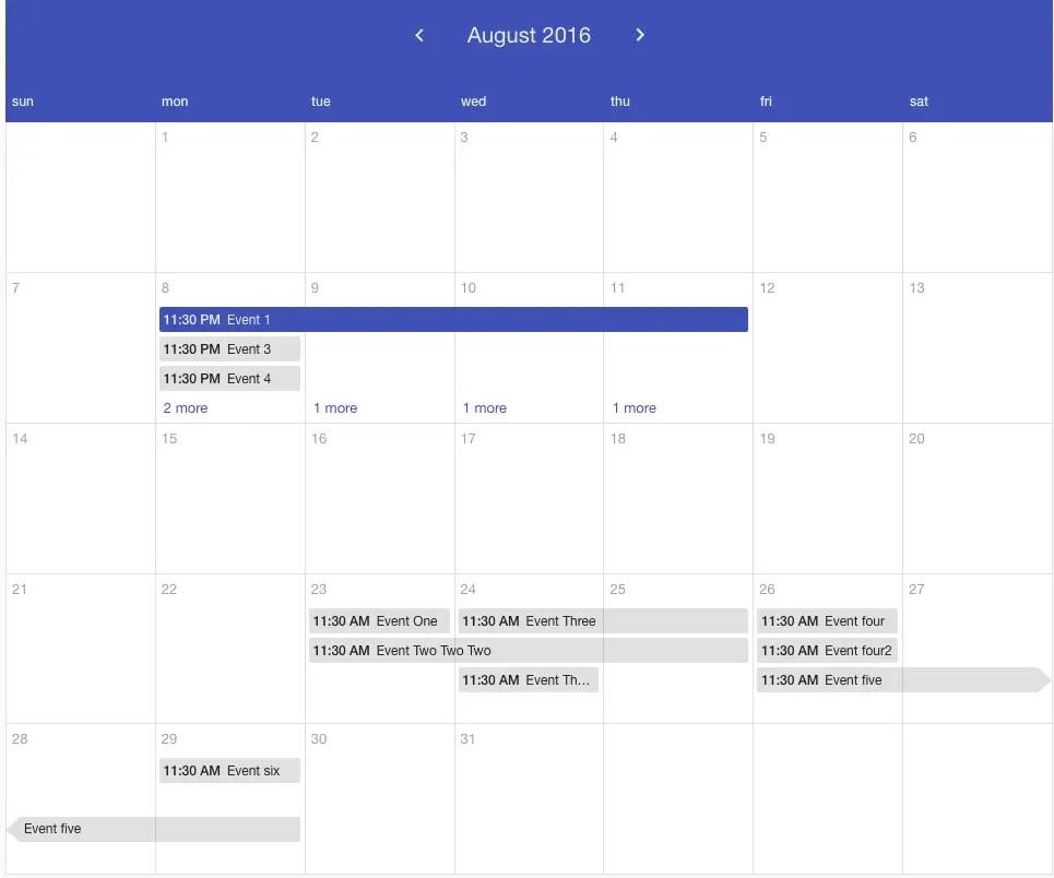 Angular Calendar.Angular Material Calendar Component Angular Script