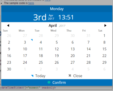 AngularJS 2 Date Time Picker