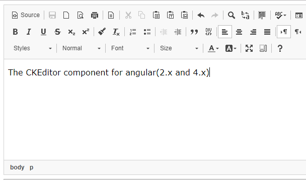CKEditor Component For Angular 2/4+ | Angular Script
