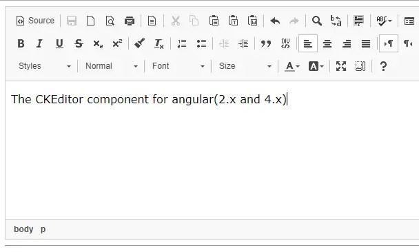 CKEditor Component For Angular 2 4