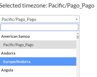 Timezone Selector For Angular 2+