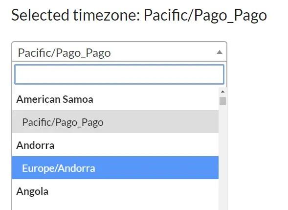Timezone Selector For Angular 2+