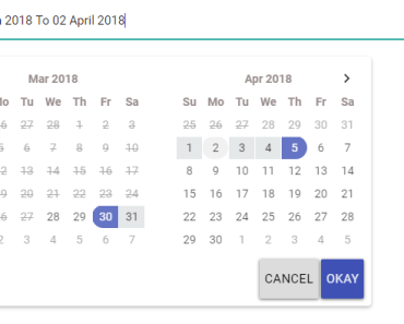 Angular 2+ Material Date Range Picker