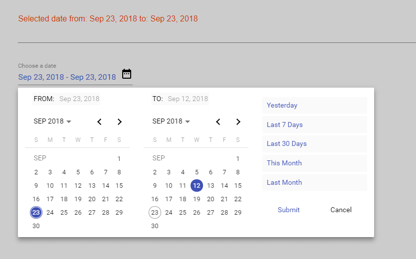 Flexible Material Date Range Picker For Angular