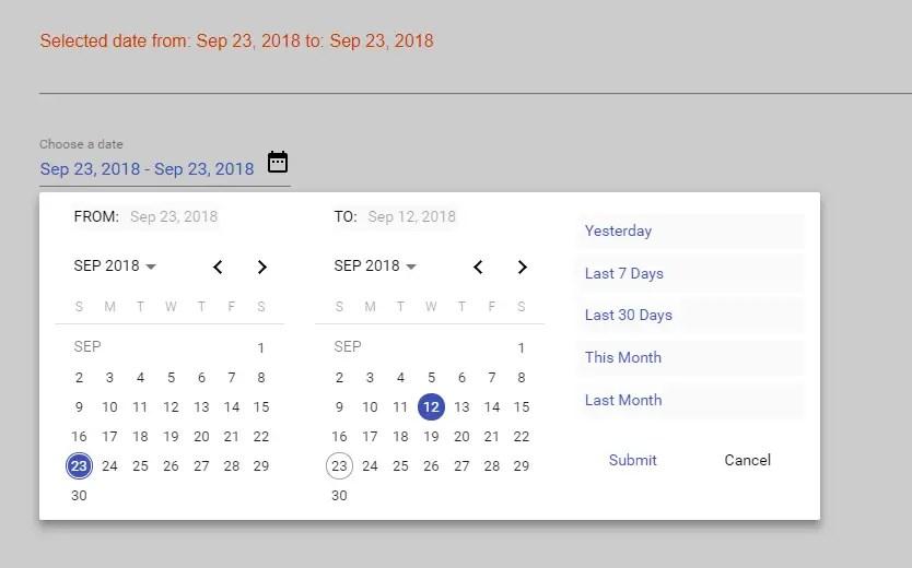 Flexible Material Date Range Picker For Angular | Angular Script