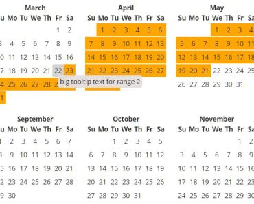 Full Year Calendar For Angular