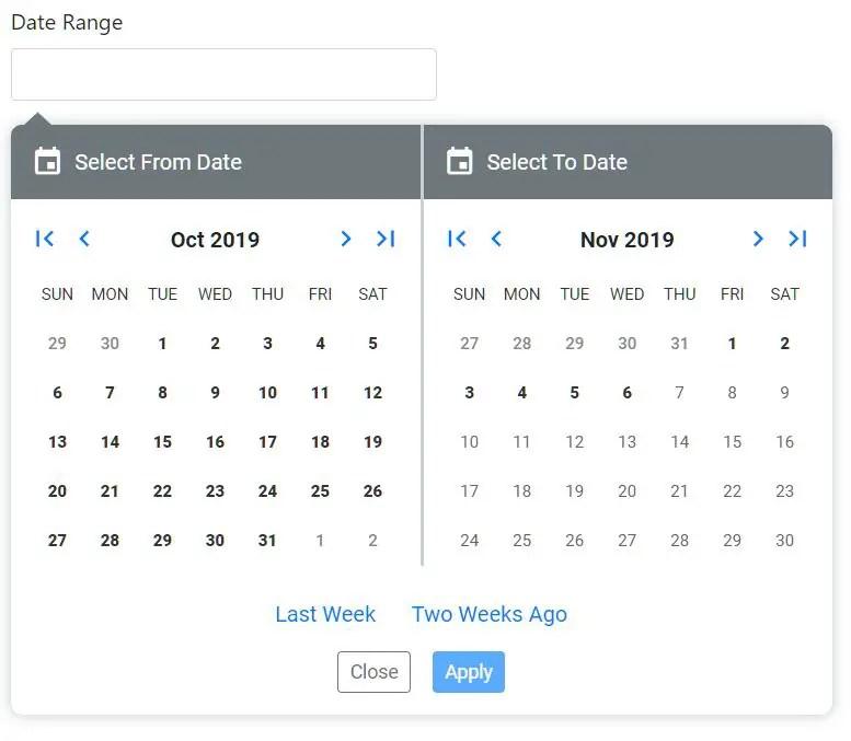 Custom Date Range Picker For Angular 8+ - ngx-daterange