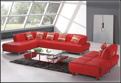 Red Leather Sectional Sofa With Chaise