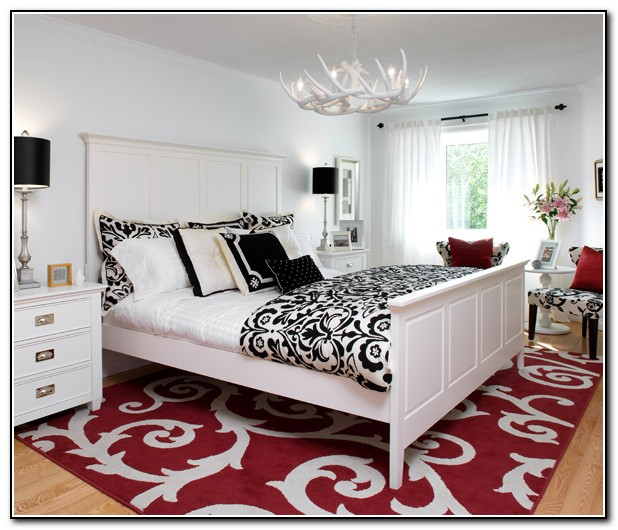 Black And White Bedding With Red Accents