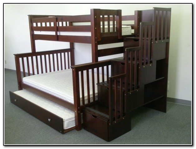 Full Over Full Bunk Beds With Trundle And Stairs