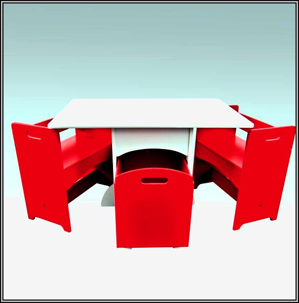 Kids Table And Chairs Set With Storage