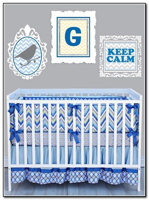 Blue Chevron Baby Bedding