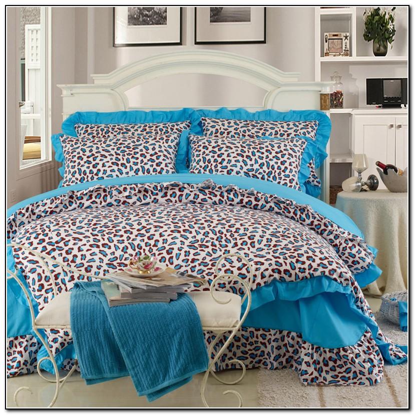 Blue Leopard Print Bedding