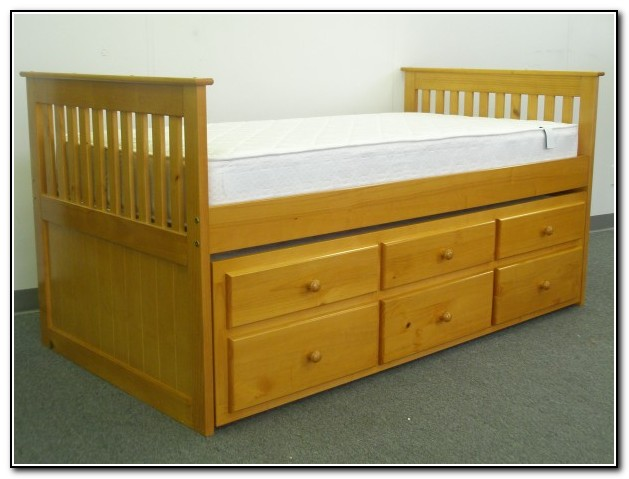 Captains Bed Twin With Twin Trundle And Drawers