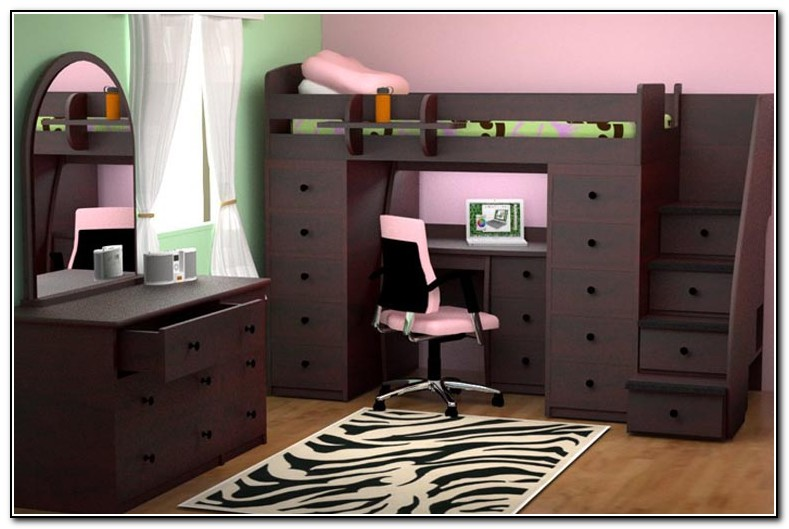 Full Loft Bed With Desk And Stairs