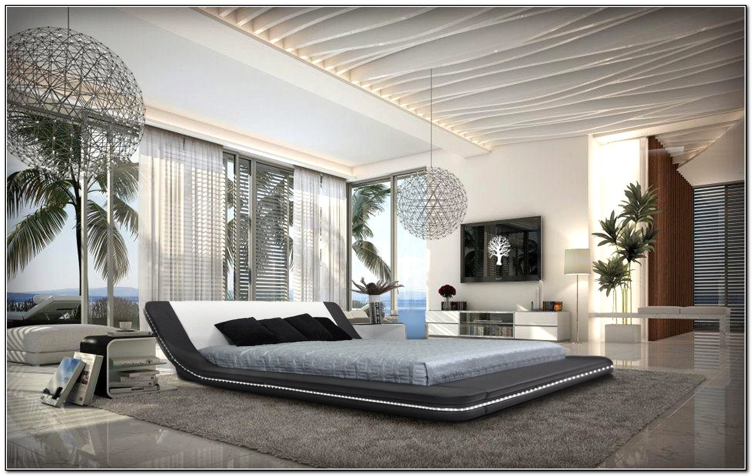 Modern Platform Bed With Led Lights