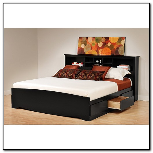 Platform Bed With Storage Headboard