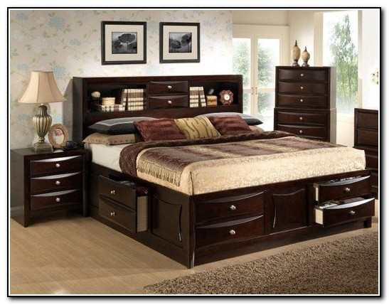 Queen Storage Bed With Bookcase Headboard