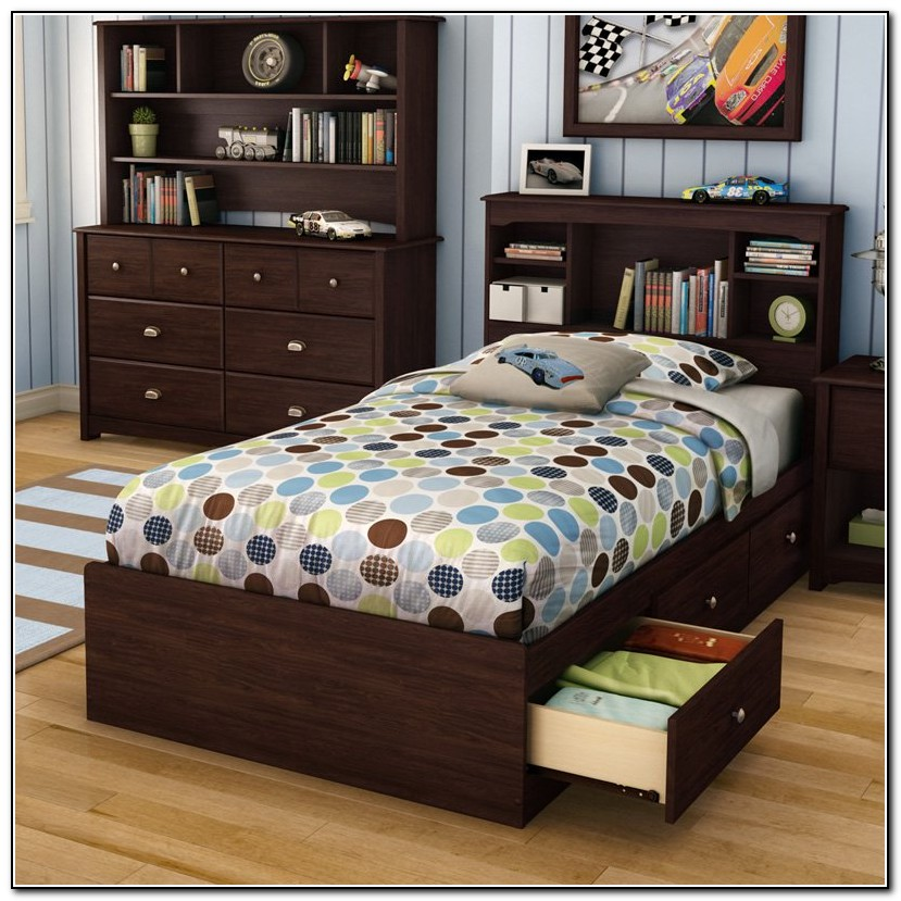 Twin Bed With Storage And Bookcase