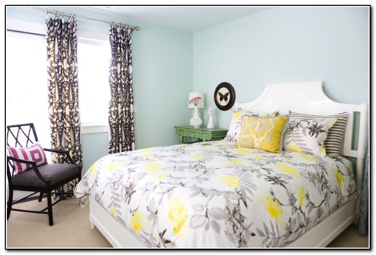 White Gray And Yellow Bedding