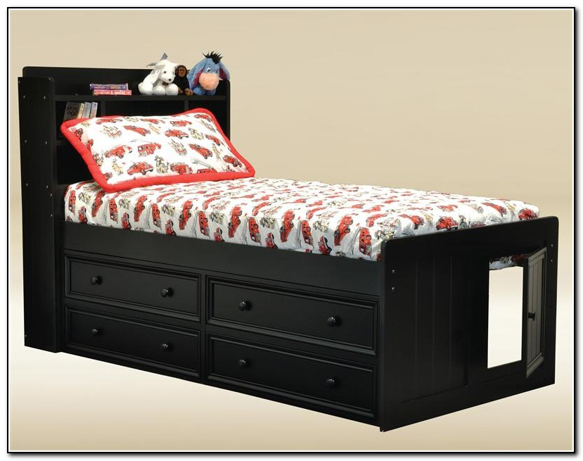 Black Twin Captains Bed