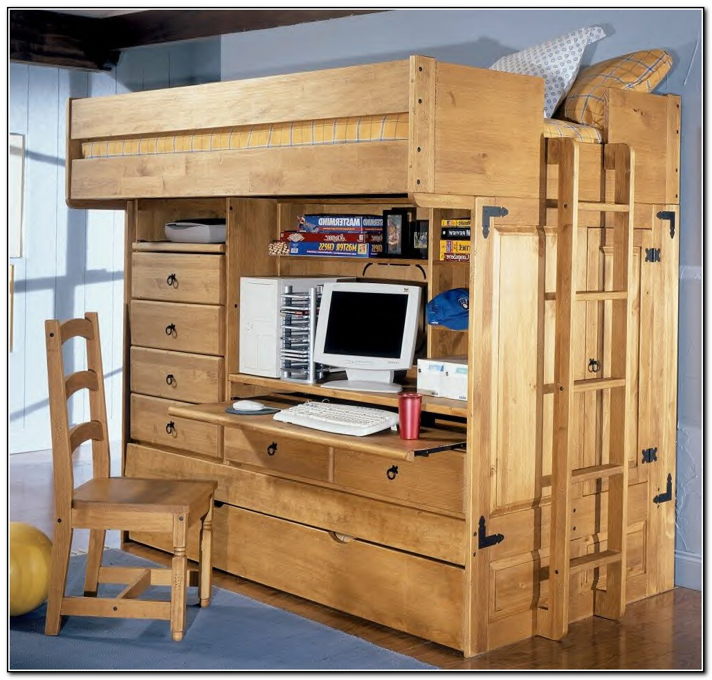 Full Size Loft Bed With Desk And Storage Beds Home