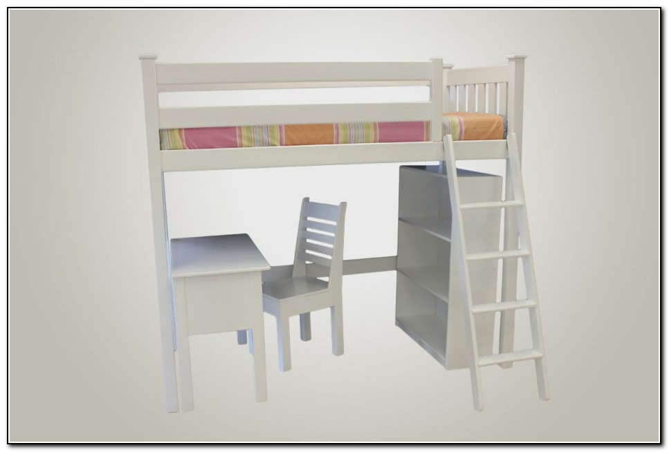 White Loft Bed With Desk Underneath