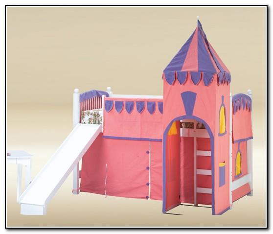 White Loft Bed With Slide