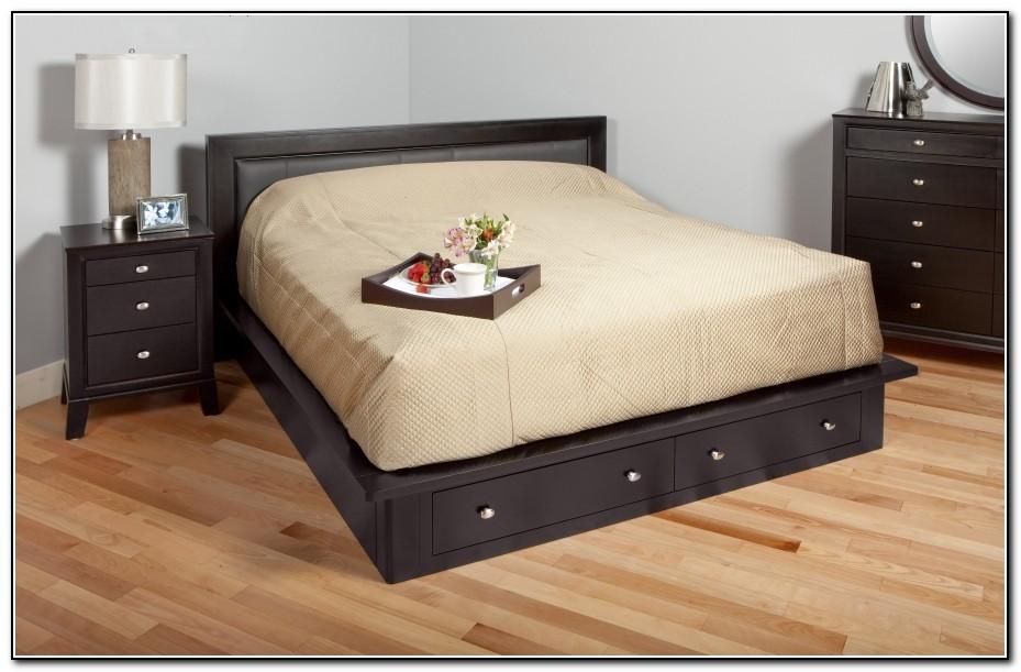 White Platform Bed With Storage Drawers