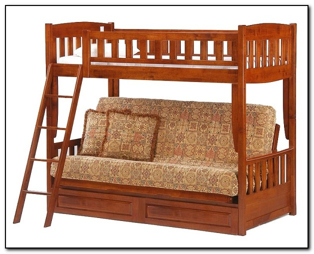 Wood Bunk Beds With Futon