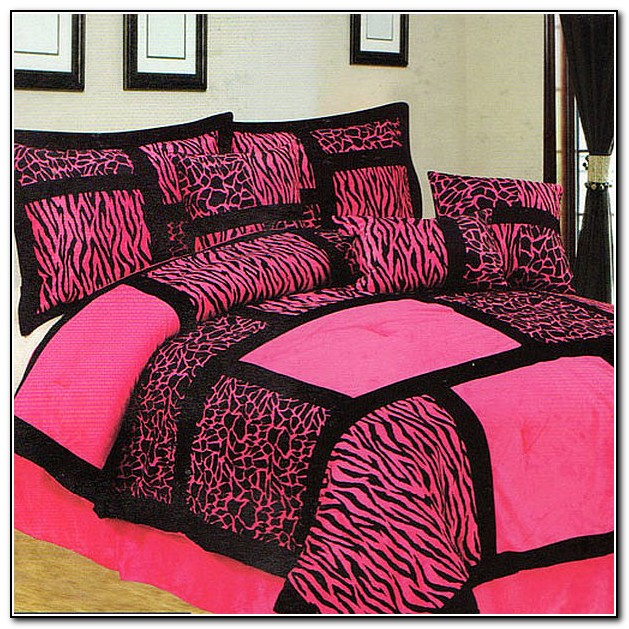 Black And Pink Zebra Bedding