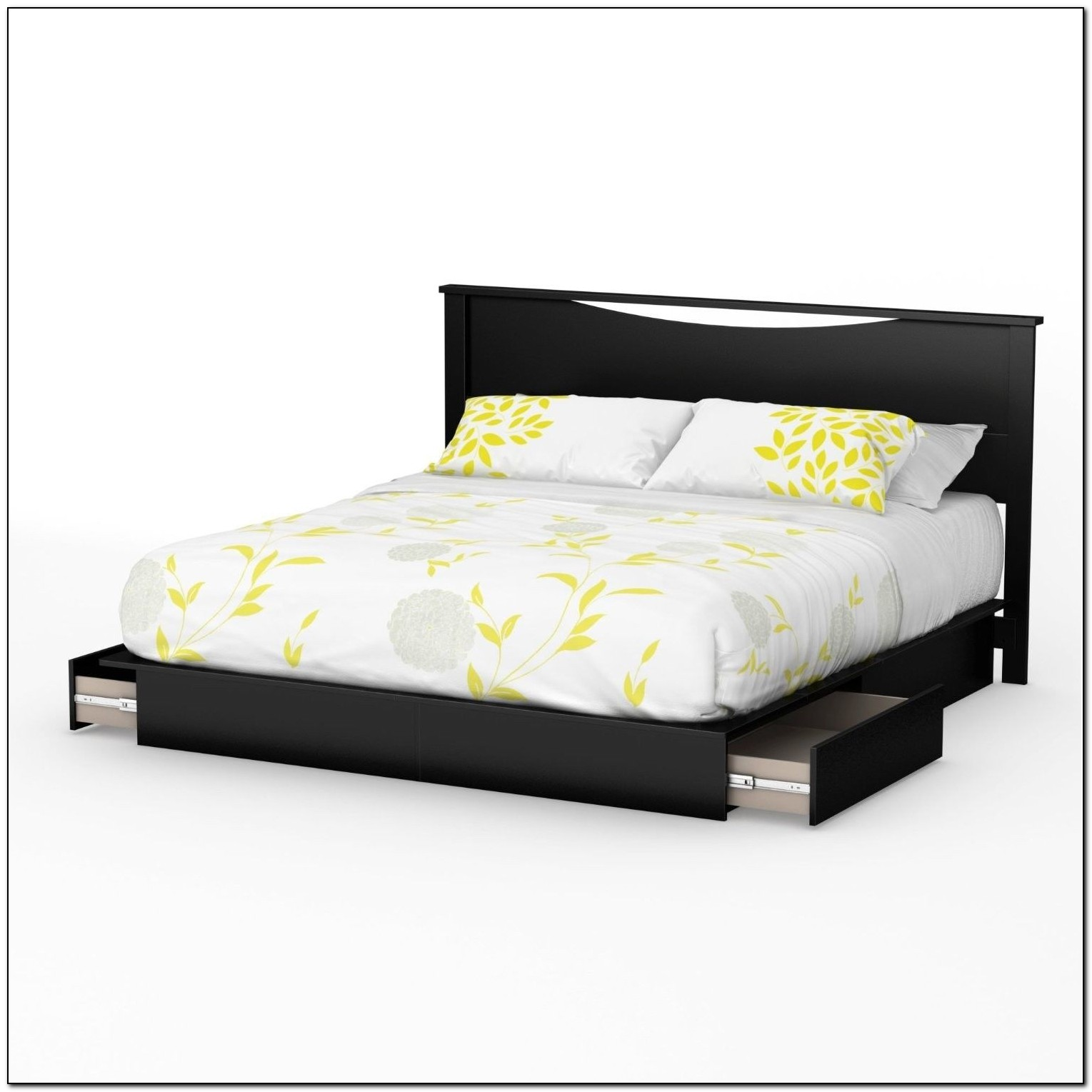 Black Platform Bed With Drawers