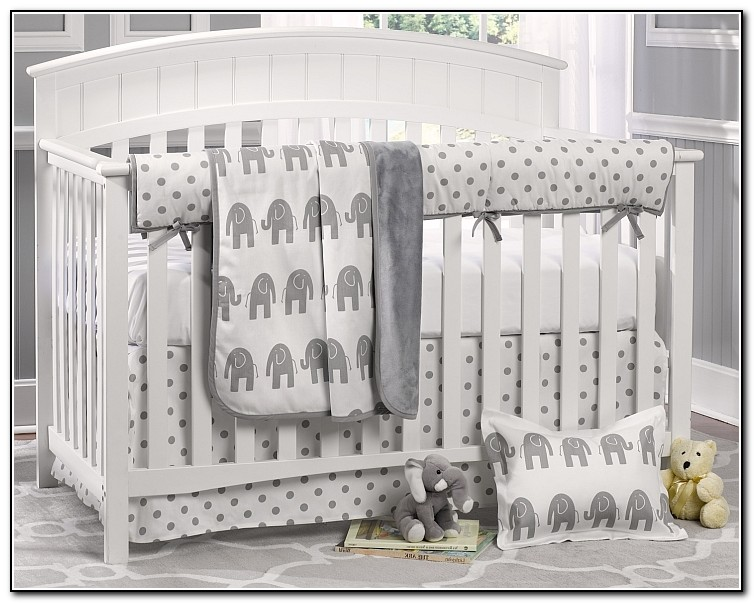 Grey Elephant Crib Bedding