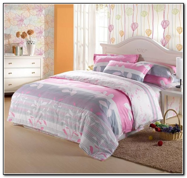 Pink Gray And White Bedding