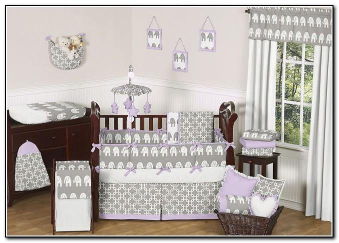 Purple Elephant Baby Bedding